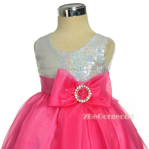 Sequins Girl Formal Occasion Dresses Flower Girl Party Holiday Age 9m-4y FG316