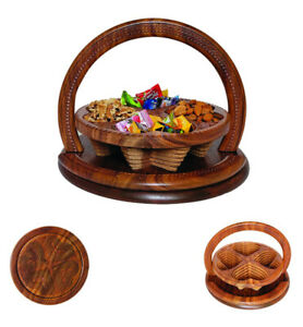 """Wooden Collapsible Gift Basket Hand Crafted 8/12"""" Dry Fruit Antique Unique Work"""