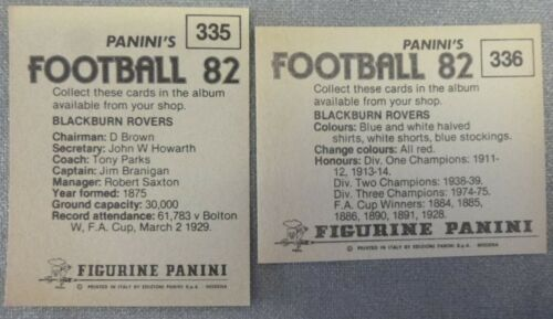 BLACKBURN ROVERS PANINI/'S FOOTBALL 82 STICKERS x 2 FIGURINE PANINI FOIL /& TEAM