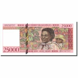 #214756 Easy To Lubricate 25,000 Francs = 5000 Ariary Madagascar 1998 Undated Banknote Dedicated