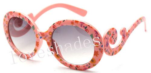 Children Kids Youth Girl Fashion Sunglasses Flower Round Swirl Arm Cute 6607