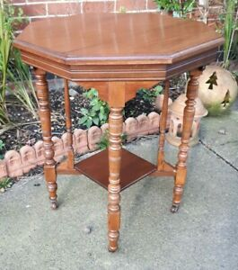 Antique-Octagonal-Victorian-Side-Table-on-Ceramic-Castors-DELIVERY-POSSIBLE