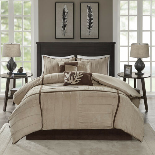 BEAUTIFUL ULTRA SOFT CASUAL BEIGE TAUPE TAN BROWN COMFORTER SET CAL KING QUEEN