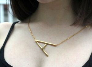 image is loading large letter necklace sideways initial 18k gold plated