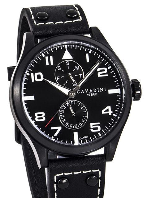 "Cavadini "" Stingray "" Men's Aviator Watch,Calendar,Stainless Steel Ip-Schwarz"