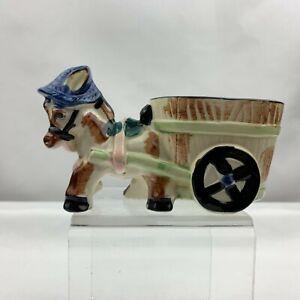 Vintage Donkey Pulling Cart Planter - Blue Hat - Made in Japan