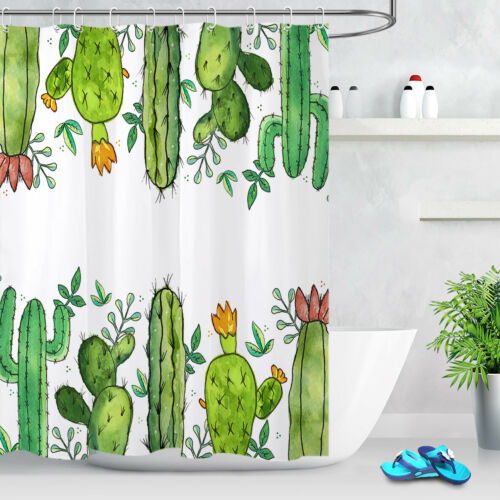 Llama Home Plants Cactus Shower Curtain Set Bathroom 180CM Waterproof Polyester