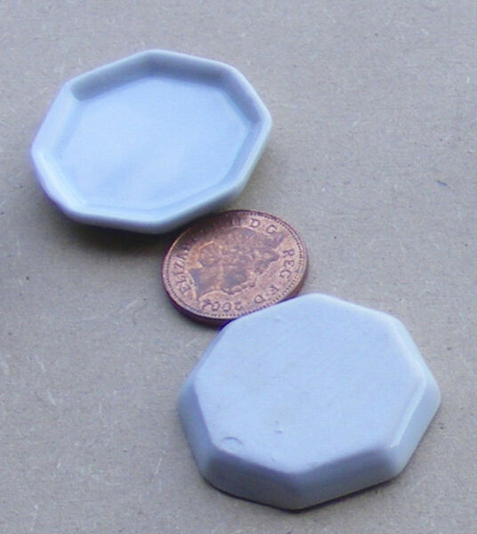 1:12 Scala 2 Bianco 3.3cm Ottagonale Ceramica Piatti Casa Delle Bambole Accessorio Alimentare W54