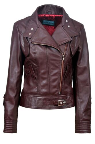 TOPMODEL Ladies Leather Jacket OXBLOOD Real Italian Nappa Leather Biker Design