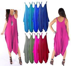 16f6c086235 Image is loading Womens-Cami-Jumpsuit-Playsuit-Romper-Harem-Lagenlook-Dress-