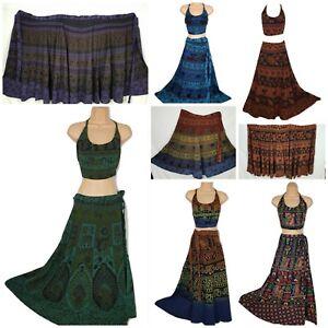 Boho-Maxi-Holiday-Cotton-Wrap-Around-Skirt-Halter-Top-Hippie-Beach-8-10-12-14-16