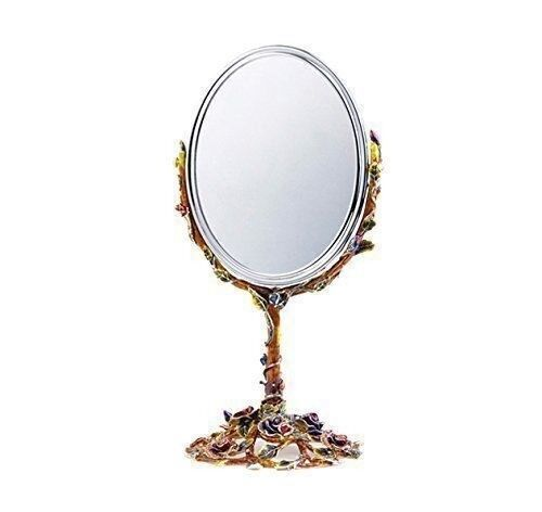 Rgold Luxury Enameled 24K gold Life Mirror Seat, Bohemian Crystal + Swarovski