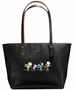 Coach X Peanuts Ice Skating Snoopy Black City Zip Tote Shoulder Bag 18904