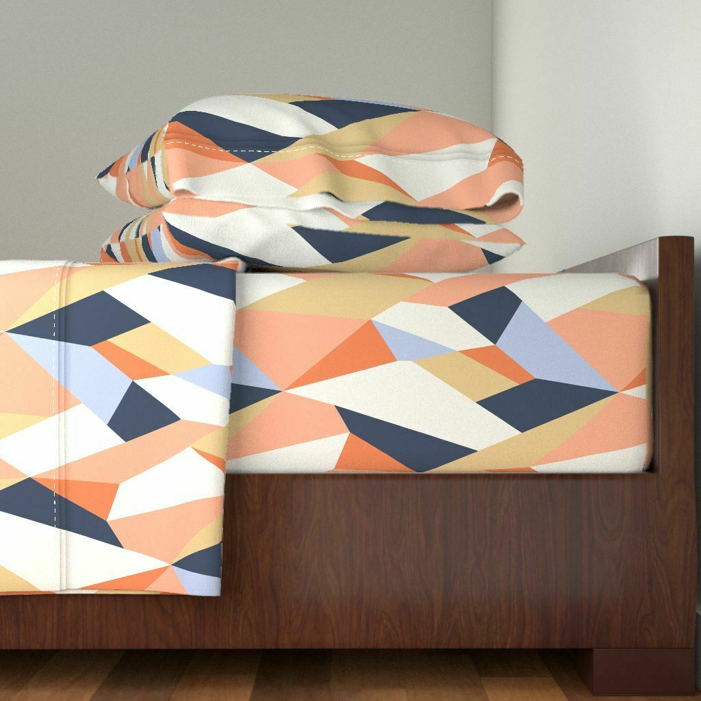 Geometric Modern Abstract Coral Navy 100% Cotton Sateen Sheet Set by Roostery