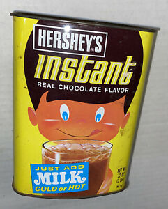 Vintage TIN HERSHEY's INSTANT Chocolate Flavor Mix EMPTY 32oz Prop free shipping