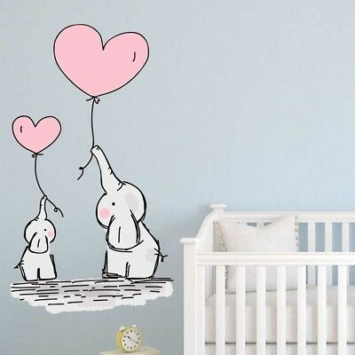 Baby Elephant Balloons Wall Stickers Nursery Decals Kids Bedroom Wall Art  Babies | eBay