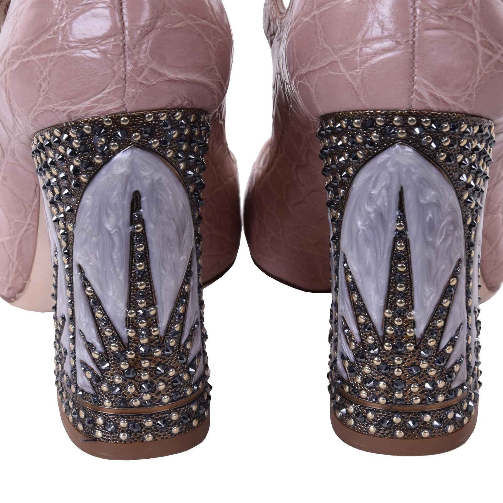 DOLCE & GABBANA Swarovski Krokodilleder Swarovski GABBANA Mary Jane Pumps Schuhe VALLY Nude 06705 574098