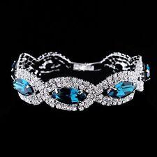 *UK* Ladies silver plated Peacock Blue Crystal Bracelet Jewellery Gift