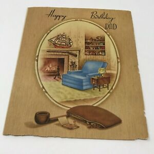 Vintage-Happy-Birthday-Dad-Card-USA-1960s-Ephemera-Chair-Pipe-Study-Office-Scene