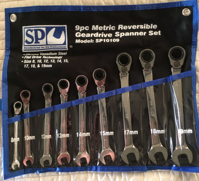 SP TOOLS 9 PC METRIC GEAR REVERSIBLE RATCHETING COMBINATION SPANNER SET SP10109