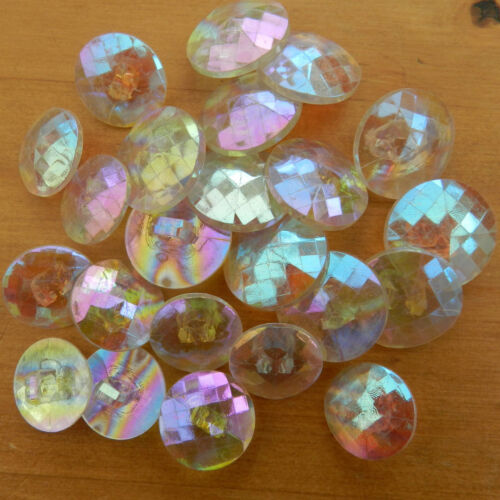 5 X glittery rainbow iridescent buttons sizes 13mm 15mm /& 18mm shank on back
