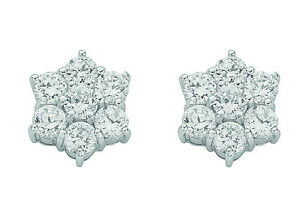 Silver-Cluster-Stud-Earrings-Studs-Rhodium-Plate-925-Hallmark