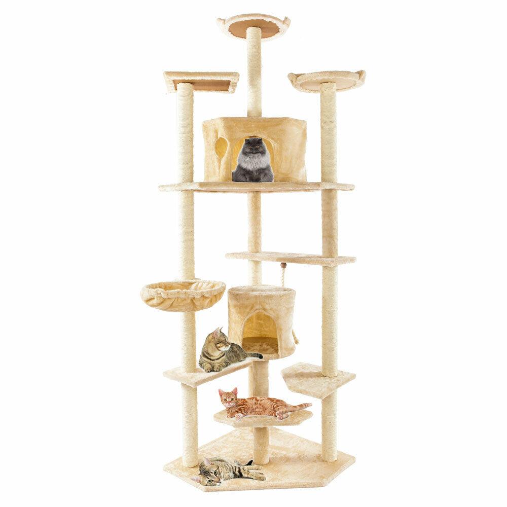 """80"""" Solid Cute Sisal Rope Plush Cat Climb Tree Cat Tower Black new46"""