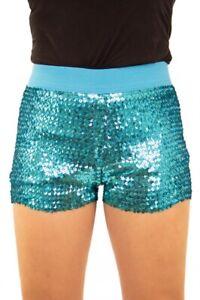 Damen Hotpants mit Pailletten und elastischem Bund Türkis Panty kurze Hose Short