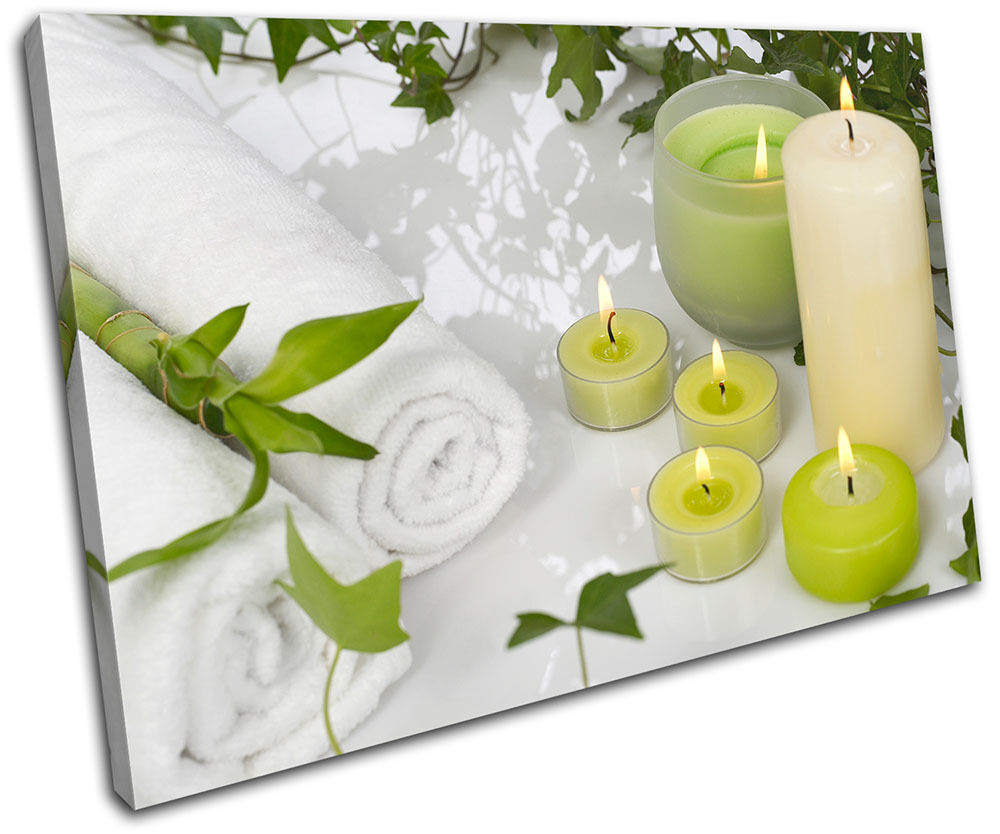 Candles Towels Bathroom SINGLE TELA parete arte foto stampa stampa stampa 9f61aa