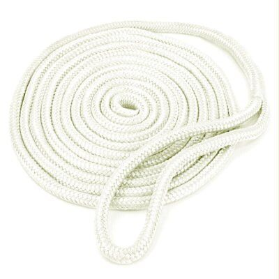 2 Pack of 5//8 Inch x 35 Ft White Double Braid Nylon Mooring and Docking Lines