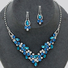 Light Sapphire Blue Crystal Rhinestone Prom Wedding Formal Earrings Necklace Set