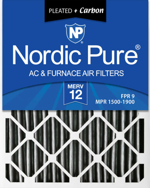 Nordic Pure 12x18x1 MERV 10 Pleated Plus Carbon AC Furnace Air Filters 12 Pack Piece