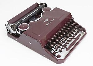 Adler Favorit 2 Burgundy Portable Typewriter 1949 - RARE