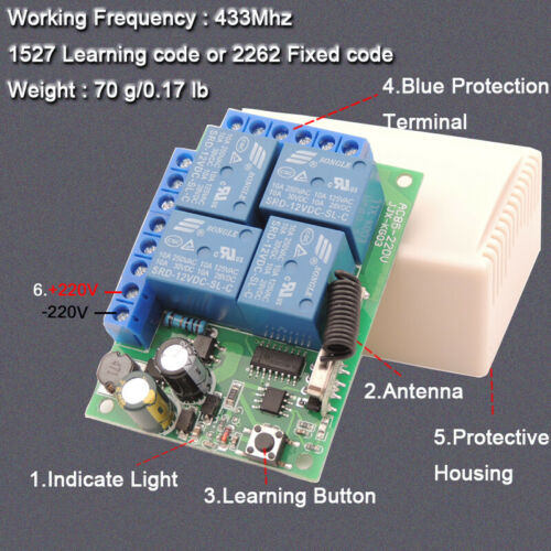 Wireless 433MHz Remote Control AC 220V 4Ch Relay Receiver Waterproof Transmitter