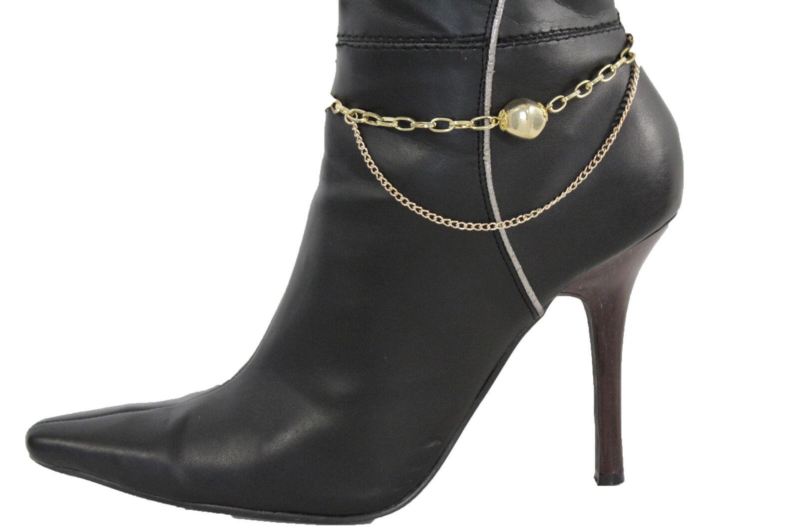 Women Dark Gold Metal Boot Chain Bracelet Anklet Shoe Big Rock Charm Jewelry