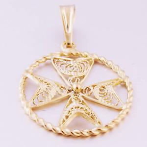 FILGREE Hallmarked Jewellery MALTESE CROSS 9ct 9k gold Pendant Handcrafted Malta