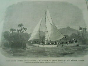 Acheter Pas Cher Gravure 1867 - Bateau D'acier Construit Pour L'expédition Docteur Livingston Sans Retour