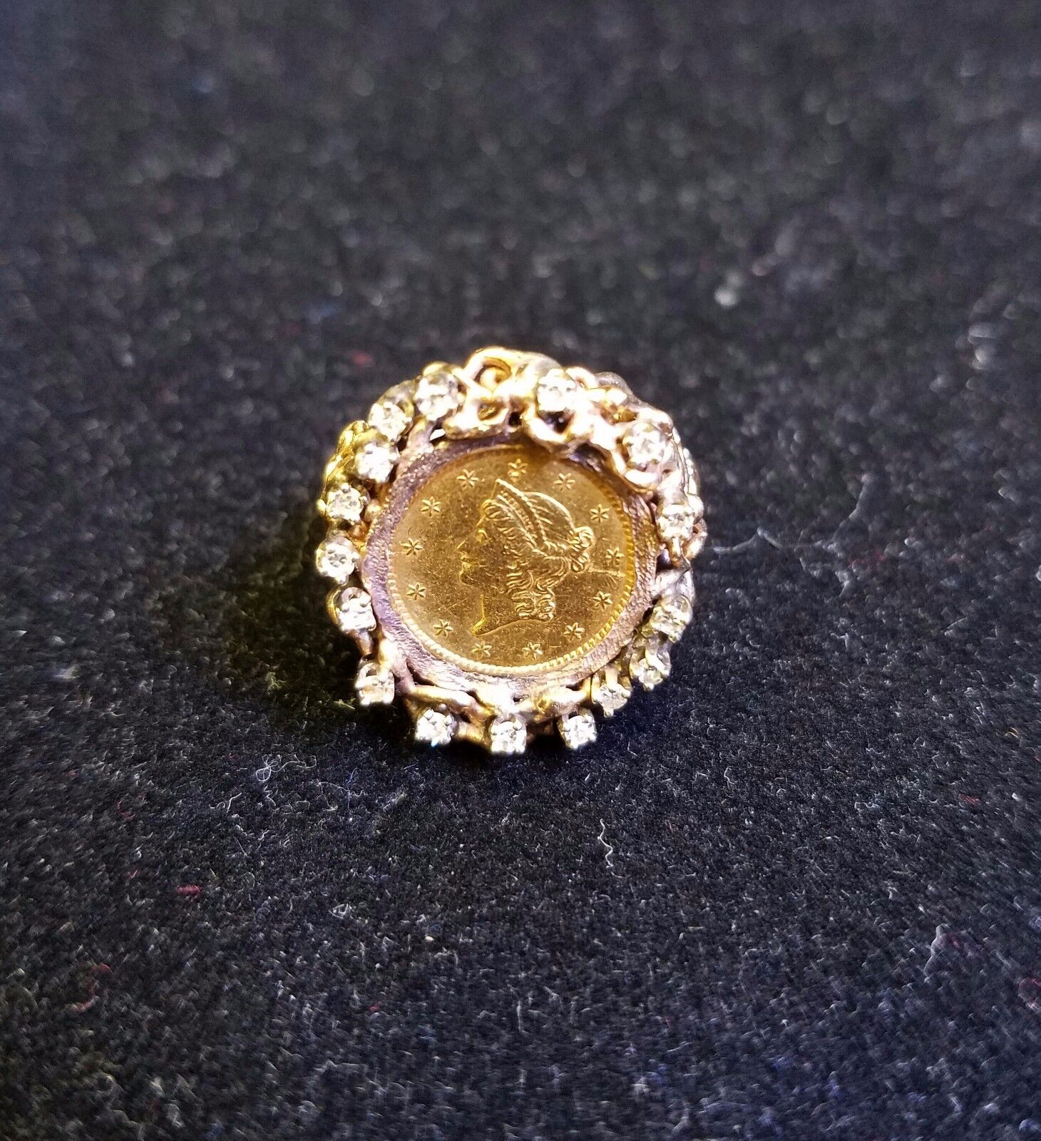 22K Fine gold 1852 Liberty Head gold Coin .25 TCW diamonds 14k gold Ring Jewelry