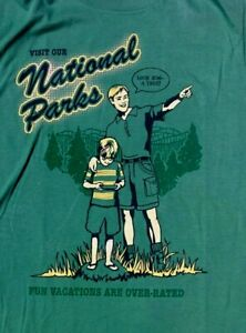 Funny Family Vacation Green T SHIRT Visit National Parks ADULT MEDIUM Nature