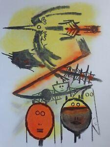 WIFREDO LAM (1902-1982) / TYPISCHE FIGURATIE / KLEURZEEFDRUK / 97x70cm / SIG