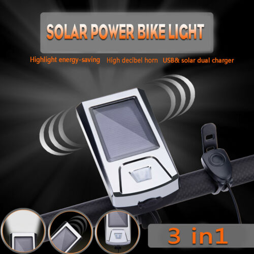 5W Bicycle Cycling Headlight Solar USB Charging 300 Lumen Light 140dB Horn
