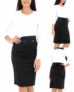 2c778097d Image is loading WOMENS-LADIES-WORK-OFFICE-JERSEY-BELTED-BODYCON-PENCIL-