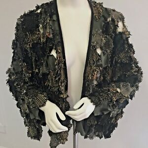 Women-039-s-GRUNGE-Patches-BLAZER-JACKET-Size-S-M-Upcycled-Men-039-s-Suit-Pieces
