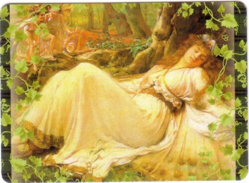 Fairy Lady Asleep in The Woods Modern Wide Swap Playing Card Green Edge