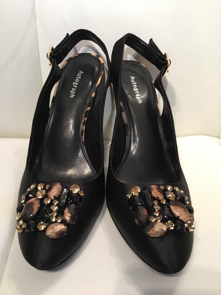 M & S Autograph Leopard/black Satin Sling backs 5 1/2
