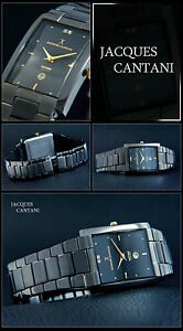 Memoria-Reloj-Unisex-JACQUES-cantani-ELEGANTE-ip-schwarz-CHAPEADO-Esfera-Plata
