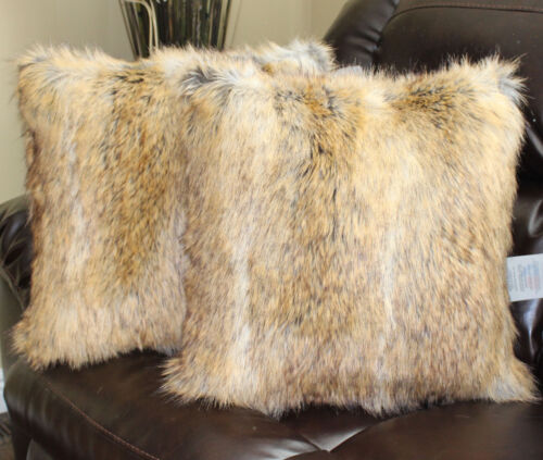 Faux Fur Canadian Fox Honey Pillow Cover 18 x 18 in Set of 2