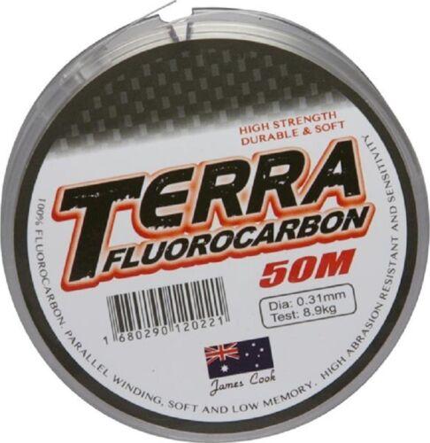 James Cook Terra fluorocarbon 0,35mm 11,2kg 50m Angelschnur Vorfachschnur
