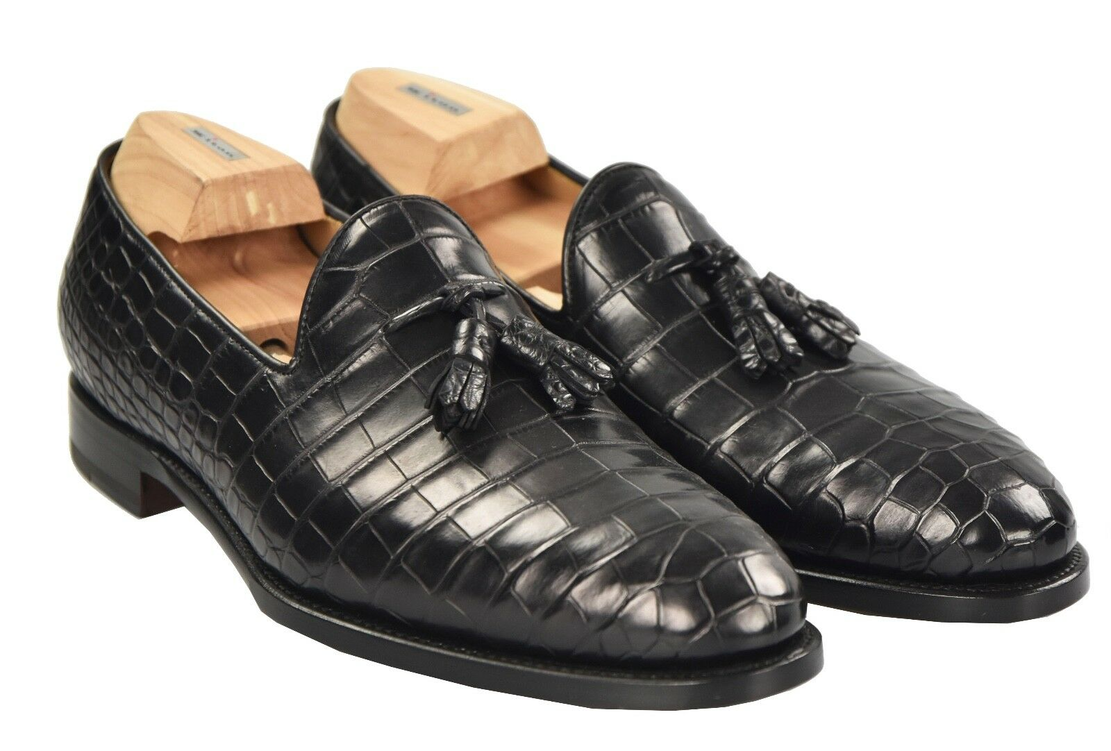 NEW KITON NAPOLI SHOES 100% LEATHER CROCODILE SIZE 10 US 43 KSC23