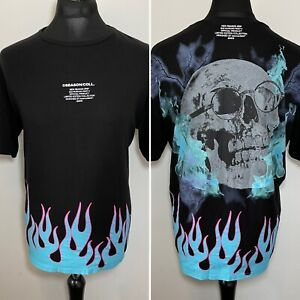 Boohoo Man Black Graphic Skull Blue Flame T Shirt Limited Edition 2020 Medium